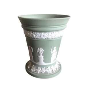 Wedgwood Jasperware Green & White Flower Vase