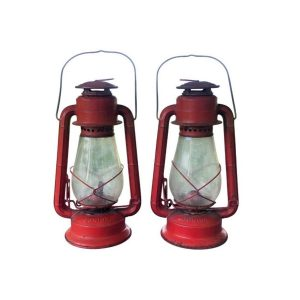 Vintage Red Dietz Junior Camp Railroad Style Lamps, Pair