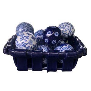 Porcelain Blue and White Carpet Balls in Tadinate Basket