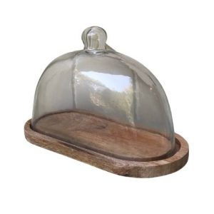 Oval Cheese Tray with Glass Dome