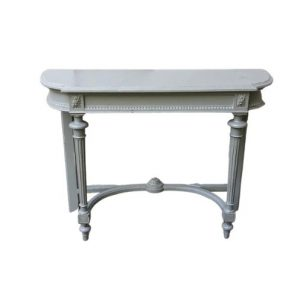Grey Carved Wood Console