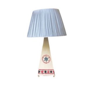 Nautical Table Lamp with Blue Check Shade