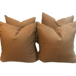 Set of 4 Brown Pillows with Down Inserts