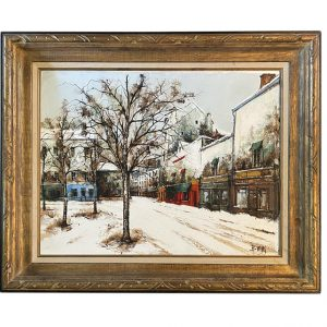 Brunuel Winter Street Scene Oil Painting
